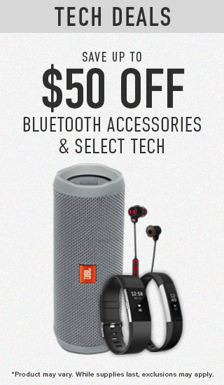 Picture of electronics. Save up to $50 off Bluetooth Accessories & Select Tech. Product may vary. While supplies last.