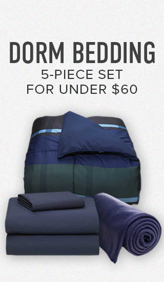 Picture of blankets. Dorm bedding 5-piece set for under $60. Click to shop now.