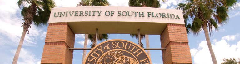 College sign at USF entrance